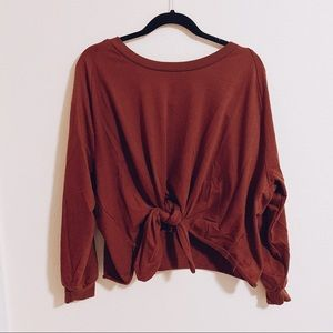 Blanc de blan Burnt Red Sweater with Knot Detail